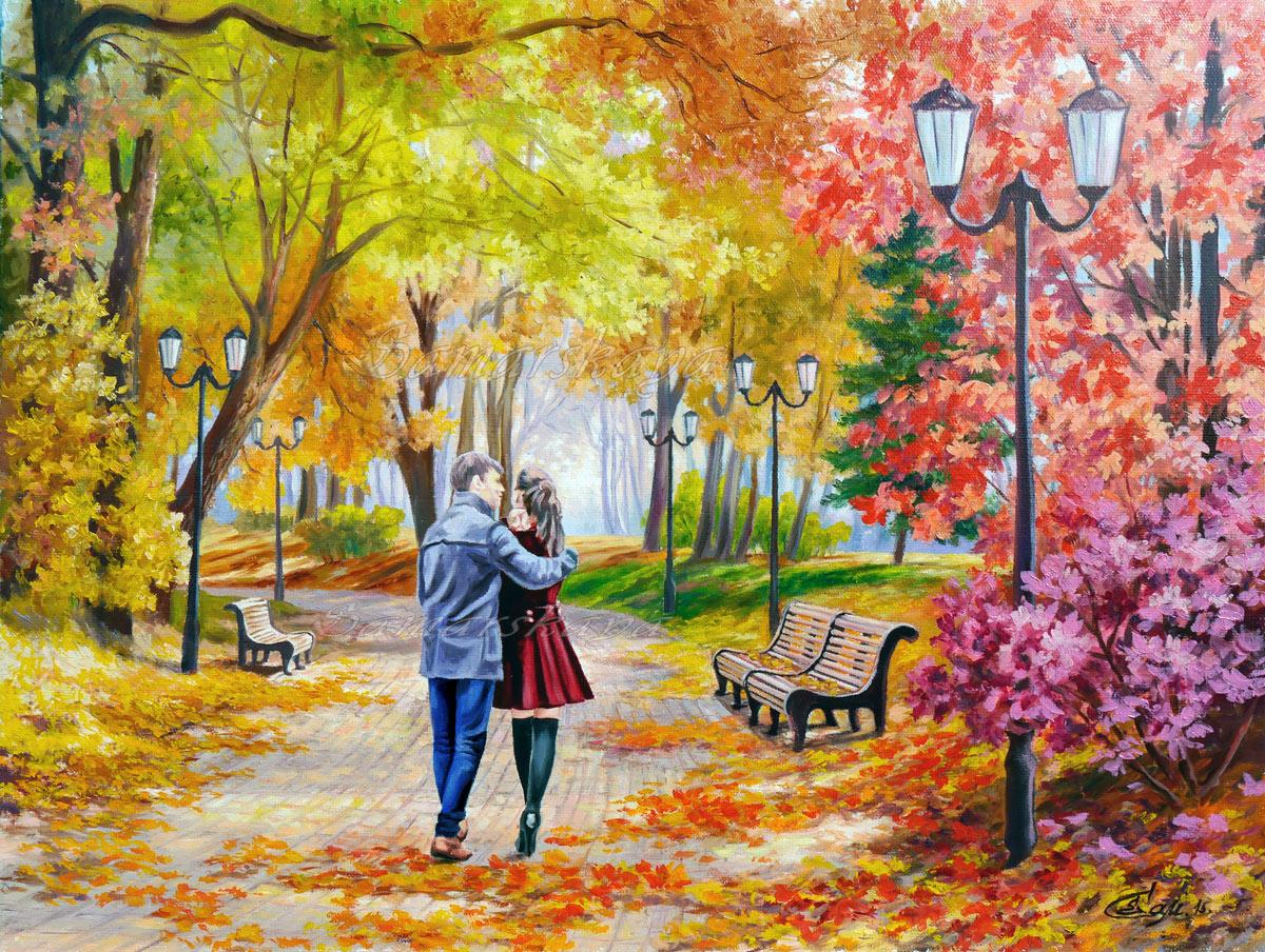 Пара в парке рисунки